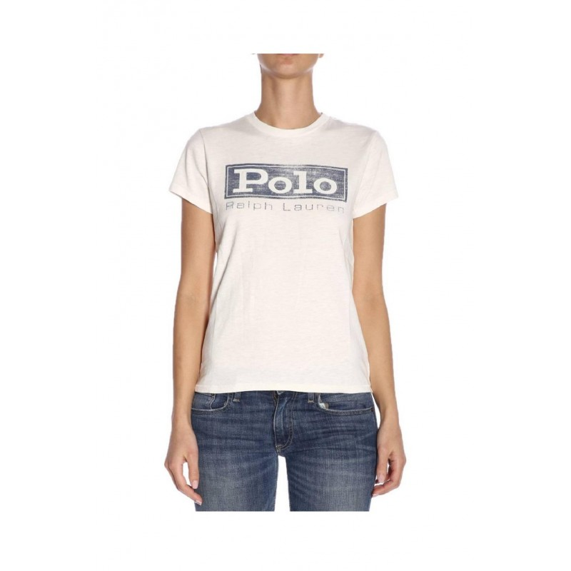 competitive price bd3fa 9fc16 T-shirt Polo Ralph Lauren donna 211718198 bianca ss19
