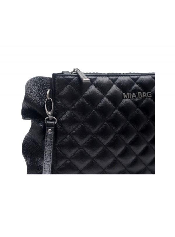 Borsa Mia Bag 18134 001 pochette leather trapuntata con rouches nero ss18