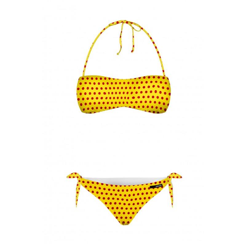 eb433e6a4b12 Costume Rrd bikini 17506 31 comics microfibra pois giallo e rosso 2 pezzi